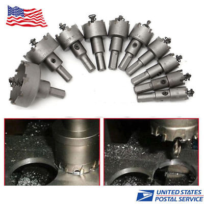 - 10Pc Carbide Tip TCT Hole Saw Cutter Drill Bit Set For Steel Metal Alloy 16-50mm