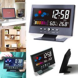 Electric Clock Alarm Sound Sensor LightUp LCD Digital Table Calendar Temperature
