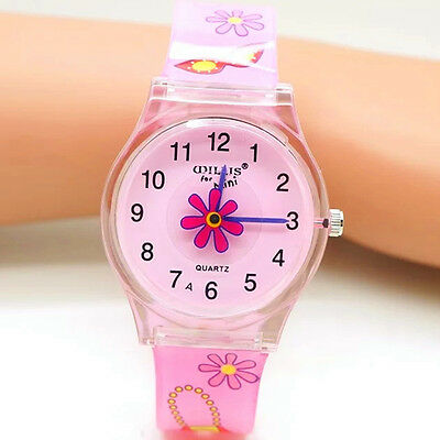 Children Lovely Watch Pink For Girls Waterproof Fashion Gift For Kids Wristwatch