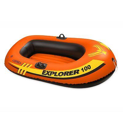 Intex Explorer 100 1 Person Youth Size Pool Lake Inflatable Raft Row Boat Orange