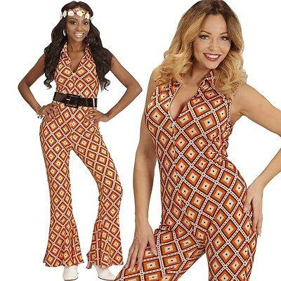 70er Disco Girl Overall mit Schlag 38/40 -M- Damen Kostüm Hippie Jumpsuit  #8902 (70er Disco Girl Kostüm)
