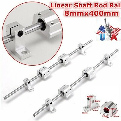 2pcs 8mm 400mm Linear Shaft Rod Rail Kitsc8uu Bearing Block For 3d Printer Cnc