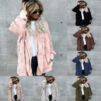 Fleece Fur Jacket Outerwear Tops Winter Warm Hooded Fluffy Coat Fashion Women's