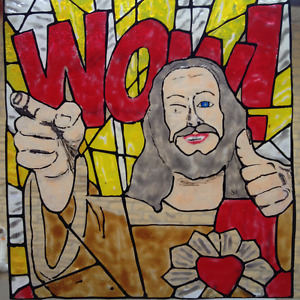 Jesus WOW Faux Stained Glass Piece
