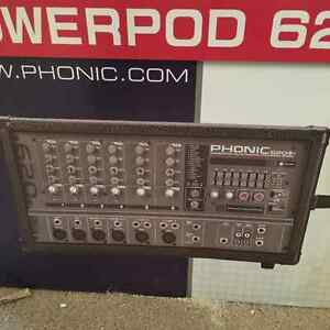 Complete PA system 200-Watt 6-Channel Powered Mixer with D