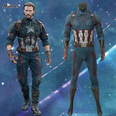 Captain America Bodysuit Costume (Avengers 3 Infinity War Costume Captain America 4D Bodysuit Zentai Steve)