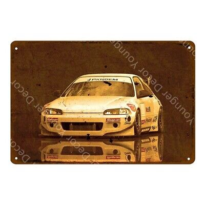 Honda Civic Racing Metal Poster Car Garage Decoration Tin Sign 8 x 12in