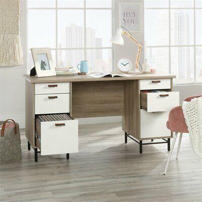 Sauder Anda Norr Executive Desk in Sky Oak and White