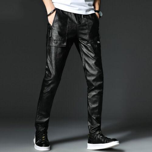 Men Casual Slim Fit Skinny PU Leather Black Trousers Motorcycle Biker Pants Size