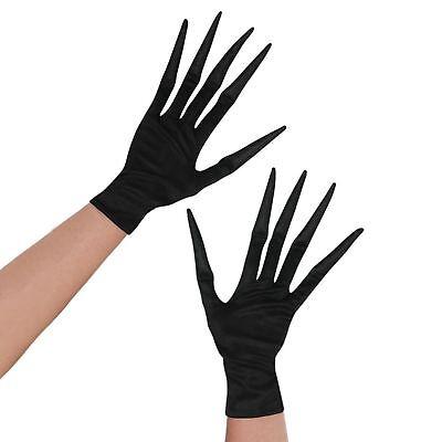Boys Girls Kids Black Long Finger Creepy Halloween Ghoul Gloves Hands Monster