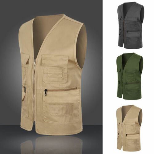 US Mens Multi Pocket Camera Outdoor Travelers Fishing Vest J