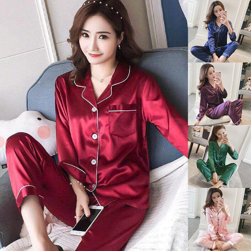 Silk Satin Pajamas Set Long Lingerie Sleeve Sleepwear Lounge Women