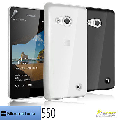 Soft TPU Gel Jelly Rubber Skin  Case Cover For Microsoft Nokia Lumia 550 + SP Jelly Skin Cover