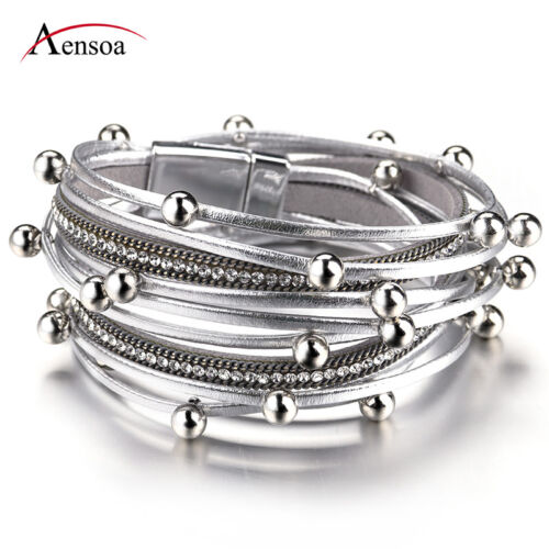 Fashion Women Multiple Layers Leather Beads Rope Chain Charm Bracelet Jewelry