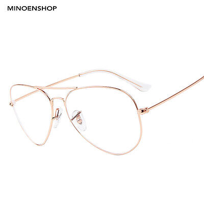 Rose Gold Clear Lens Metal Aviator Glasses Fashion Wire Trendy Frame Unisex