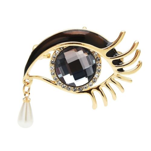Waterdrop Crystal Rhinestone Eyes Brooches Party Pins Women Fashion Jewelry Gift