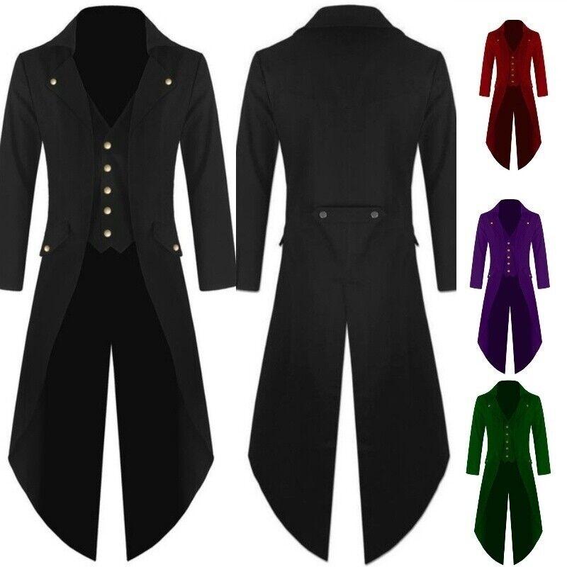Herren Mantel Steampunk Vintage Frack Jacke Gothic viktorianischen Gehrock