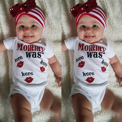 USA STOCK Cute Newborn Infant Baby Kiss Romper Bodysuit Jumpsuit Clothes Outfits