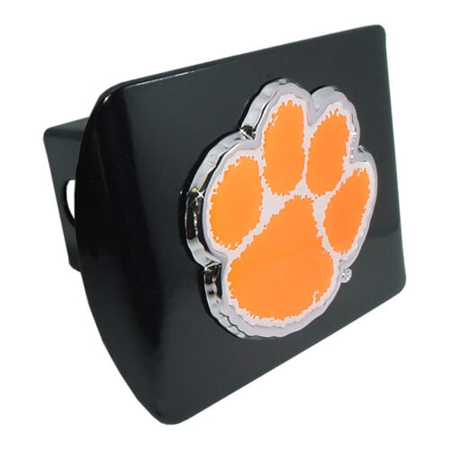 clemson paw colored logo all metal black chrome trailer hitch cover made in usa