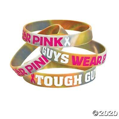12 Men's Rubber Bracelets TOUGH GUYS WEAR PINK 8