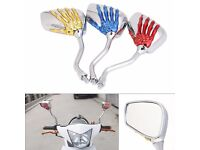 Moped/Motorbike mirrors.. Customise your bike Chrome with skeleton hand detail