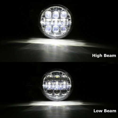 "::1x Motorcycle 5-3/4"" 5.75"" Round LED Headlight Projection Chrome High Low Beam"