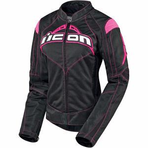 manteau moto icon contra pour femme rose