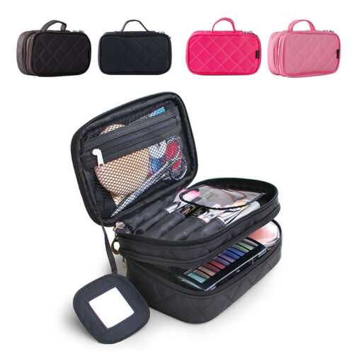 Handle Makeup Bags 2 Layer Beauty Brush Toiletry Travel Cosm