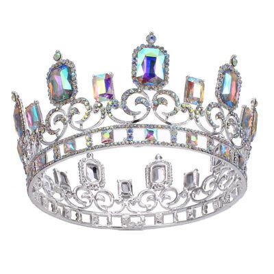 Royal Big AB Crystal Diadem Crown Prom Adult King Queen Rhinestone Hair Tiara - Big Tiaras