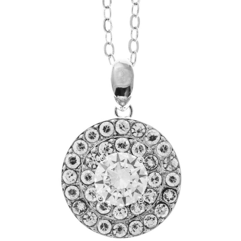 "16"" 18K White Gold Necklace w/ Three Circles Design & Clear Crystals by Matashi"