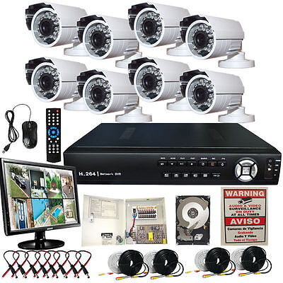 8 Channel Full D1 H.264 Video Security System 800 TVL Camera