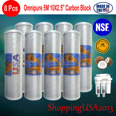 """8 X Omnipure Carbon Block Filter Ro System Coconut Shell 10X2.5"""" 5 Micro"""
