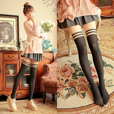 (Sexy Women's Over Knee Stripes Pantyhose Glossy Stockings Hosiery Sheer Tights)