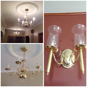 2 matching Gold chandeliers + 1 wall light fixture with 2 latern
