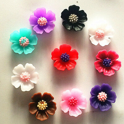120pcs mix Resin 10mm Peach blossom flower flat back Scrapbooking phone/craft