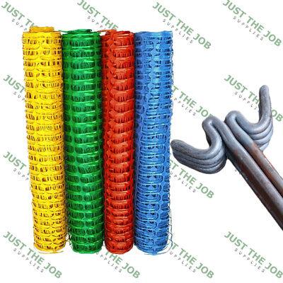 Plastic Safety Barrier Mesh Fence & Metal Pins - Netting Net - Green Blue Orange