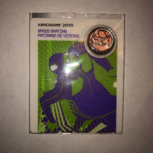 Vancouver 2010 Speed Skating 25 Cent Coin Sport Card