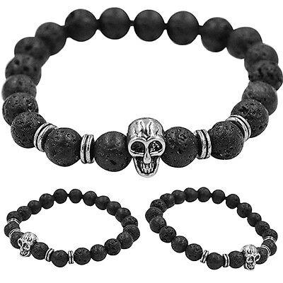 Women Men Golden Skull Black Lava Rock Beaded Shamballa Stretch Energy Bracelet