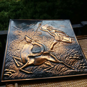 ART DECO COPPER REPOUSSE RELIEF GAZELLE HUNTER MID CENTURY