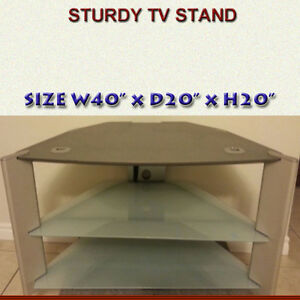 FLAT SCREEN TV STAND WITH TWO SMOKE GLASS SHELVES