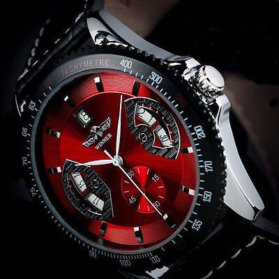 Men's Sport Wrist Watch, Automatic Date Stainless Steel Leather Strap Watch US