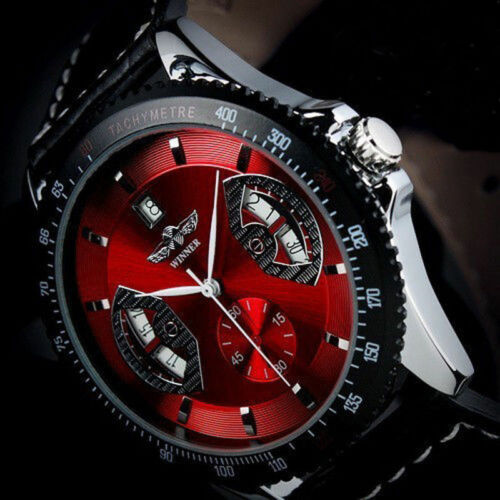 Mens Watches - 2017 New Mens Sport RED Black Leather Date Automatic Mechanical Army Wrist Watch