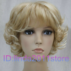 NEW-lady-Short-Curly-Blonde-Mixed-Cosplay-party-ladys-wigs-Wig-cap-No-217