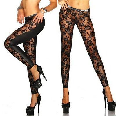 Womens Black Rose Vine Sheer Stretchy Floral Lace Leggings Tight Pencil Pants HP (Vine Legs)