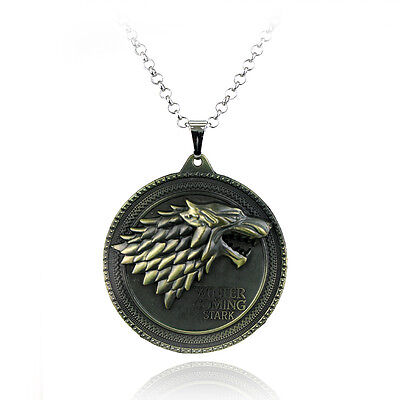 Game of Thrones House Stark Wolf Necklace Winter Is Coming Metal Pendant Jewelry (Necklace Game)