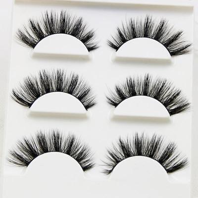 3 Pairs 3D Handmade False Cross Mink Eye Eyelashes Makeup Natural Long Lashes