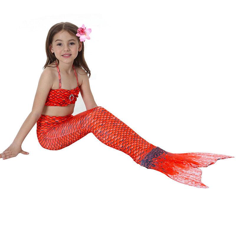 Kinder Meerjungfrau Kostüm Mädchen Bademode Badeanzug Cosplay Sommer Bikini Set Rot