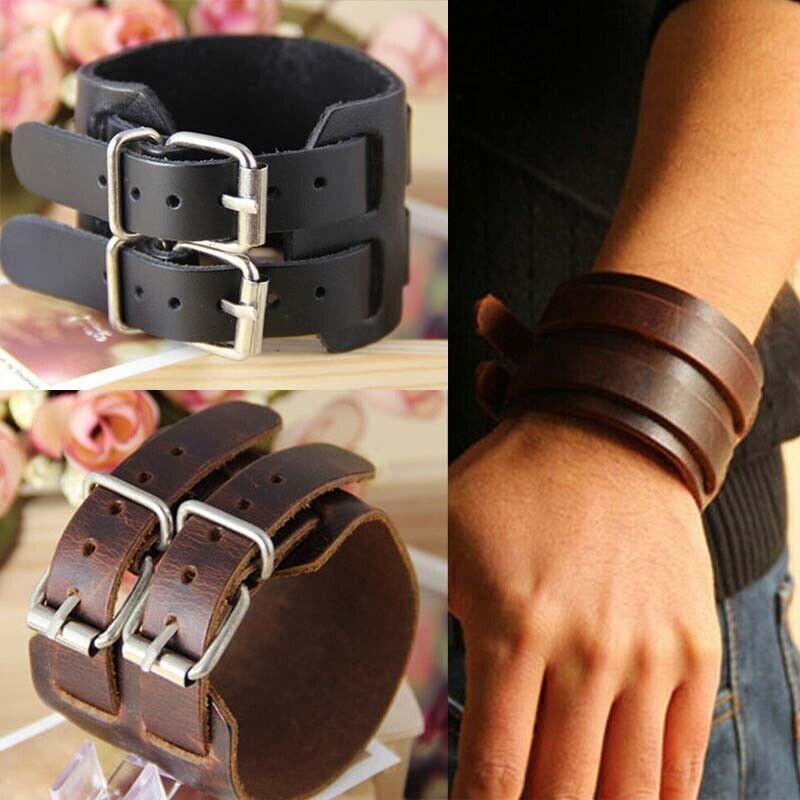 Men's Wide Leather Belt Strap Buckle Adjustable Cuff Bangle