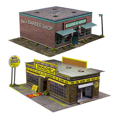 1:87 Train HO Scale Model Building Combo Kit x2 Motorcycle & Barber Shop