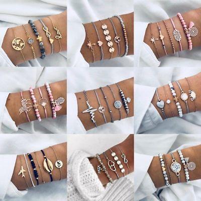 Fashion Heart Charm Bracelet Sets For Women Boho Tassel Bangle Cuff Jewelry Gift ()